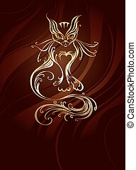 golden cat - artistically painted with gold cat with a long...