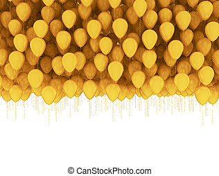 Golden celebration background. Group of gold balloons isolated on white background
