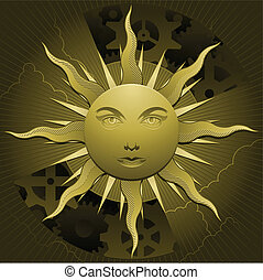 Golden celestial sun and clouds with gears