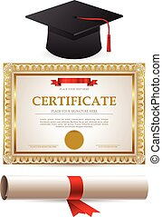 Golden certificate diploma and graduation cap
