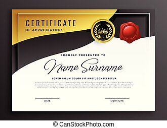 golden certificate of appreciation template