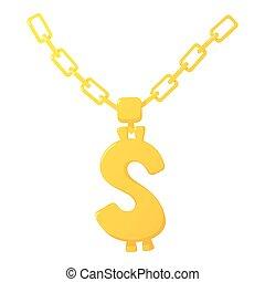 Golden chain icon, cartoon style
