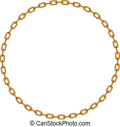 Golden chain in shape of circle on white background