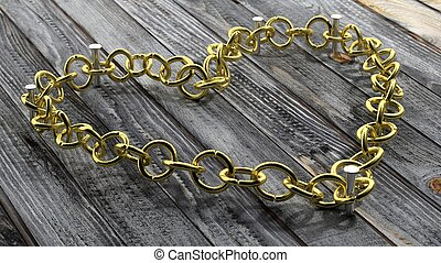 Golden chain in shape of heart, on wooden background