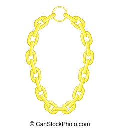 Golden chain necklace icon, cartoon style