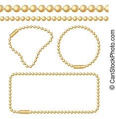 Golden Chain of Ball Links Set. Vector