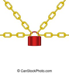 Golden chains locked by padlock in red design