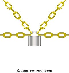 Golden chains locked by padlock in silver design
