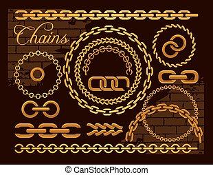 Golden chains on a dark background.