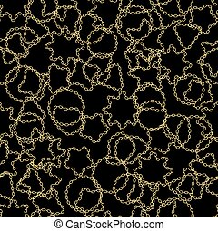 Golden chains on black background seamless pattern.