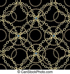 Golden chains on black background seamless pattern. eps 10