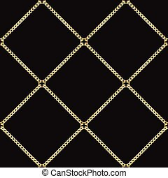 Golden Chains Seamless Pattern on Black Background.