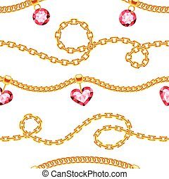 Golden chains with gemstones jewels vector seamless pattern
