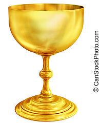 Illustration of a highly polished antique golden chalice
