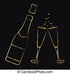 golden champagne bottle and glasses outline drawing