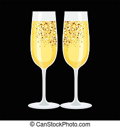 golden champagne on black