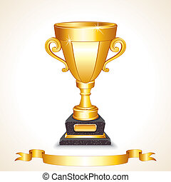 Golden Champions Trophy Cup. Vector Image