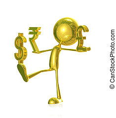 Golden character with dollar