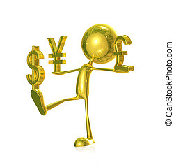 Golden character with pound sign