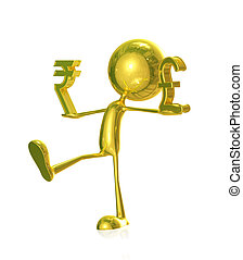 Golden character with rupees and pound sign