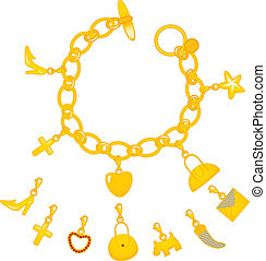 Golden Charms Bracelet - Illustration of beautiful golden...