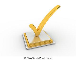Golden check mark icon.