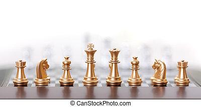 Golden chess pieces