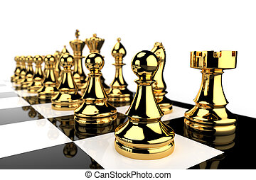 Golden Chess pieces - Black and white chess board and golden...