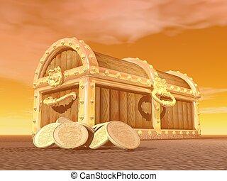 Golden chest - 3D render