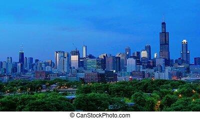 Golden Chicago Skyline Lapse at Sunset
