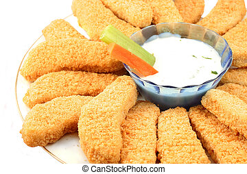 Golden chicken fingers and veggies - A plate of crispy ...