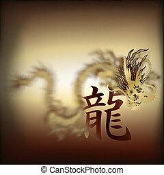 golden Chinese dragon closeup 2