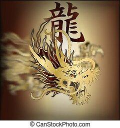 golden Chinese dragon closeup