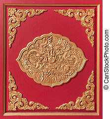 Golden Chinese Dragon in frame