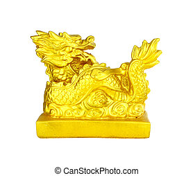 Golden Chinese Imperial Dragon on white background
