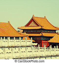 golden chinese tile roofs in Forbidden City (Beijing, China)