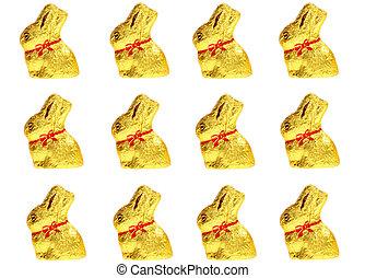 golden chocolate Easter bunnies