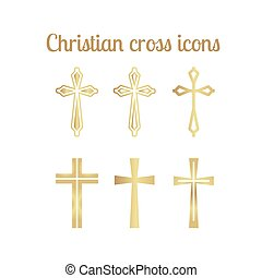 Golden christian cross icons isolated on white. Vector...