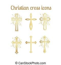 Golden christian cross icons set