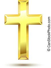 Golden Christian Cross isolated on white background