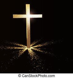 golden christian cross on dark background