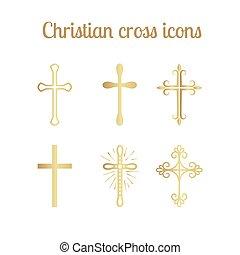 Golden christian cross set