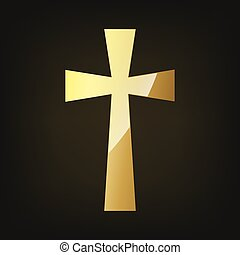 Golden Christian cross. Vector illustration. - Golden...