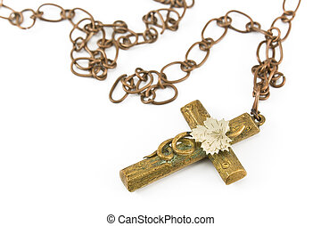 Golden christian cross with chain