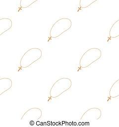 Golden christian rosary icon in cartoon style isolated on white background. Jewelry and accessories pattern stock vector illustration.