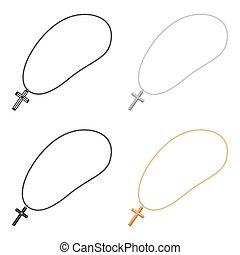 Golden christian rosary icon in cartoon style isolated on white background. Jewelry and accessories symbol stock vector illustration.