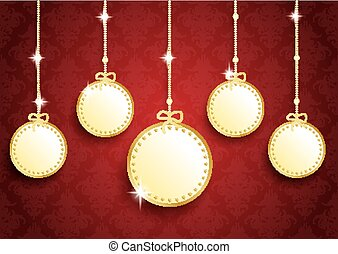 Golden Christmas 5 Empty Circles Red Ornaments