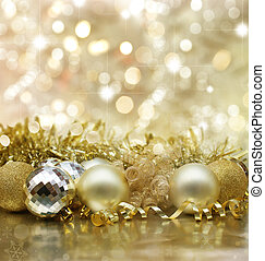 Christmas background with gold Christmas decorations