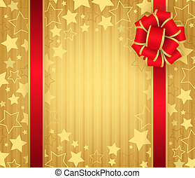 Christmas background with ribbon and snowflakes