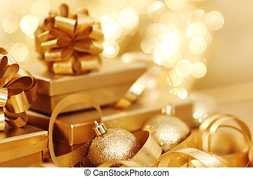 christmas background - golden christmas background gifts...